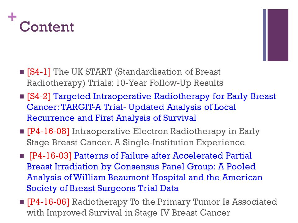 Content [S4-1] The UK START (Standardisation of Breast Radiotherapy) Trials: 10-Year Follow-Up Results.